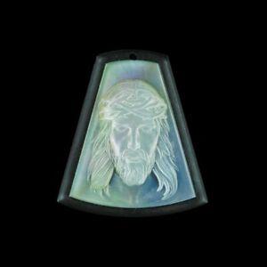 Carved Jesus MOP Designer Bead GM049021