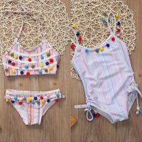 Toddler Kids Girls Strip Bikini Swimwear Swimsuit Bathing Suit Beachwear Clothes