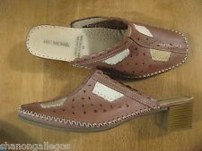 Eric Michael Light Brown Slide Mule Leather Heel Women Size Euro 41 / US 10-11