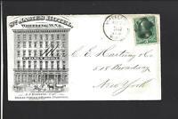 "WHEELING,WEST VIRGINIA,1874,ILLUST AD COVER,"" ST JAMES HOTEL"" W/DATED ENCLOSURE."
