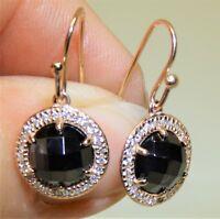 Rose Gold on 925 Sterling Silver Sapphire & Diamond Cluster Drop Hook Earrings