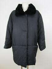 Airfield Damen Wattierte Jacke Longjacke 42 Schwarz Winterjacke Fake Fur Kragen