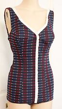 Vintage Swimsuit 1960s Swimmwers One Piece Maillot Small Cotton Blue 34-26-36