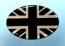 Union Jack Bandera Ovalado 72mm X 48mm Pegatina/Calcomanía-Cromo/negro brillante abovedado Gel