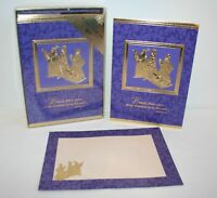 22 Gold Wisemen Christmas Cards Embossed Holiday Purple Envelopes Peace Goodwill