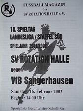 Programm 2001/02 SV Rotation Halle - VfB Sangerhausen
