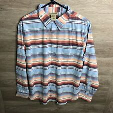 Scandia Woods Mens Small Blue Striped Button Front Shirt NEW