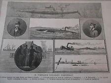 Gravure 1885 - Le Torpilleur Sous-marin Nordenfeldt