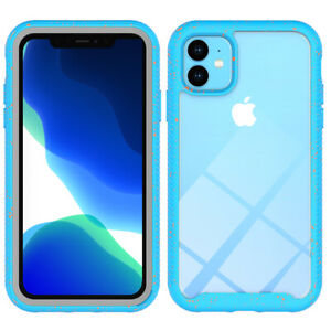iPhone 11 Case, Full Body Heavy Duty Protection Shockproof ( Red Spot Blue)