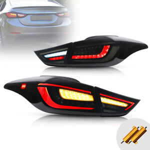 VLAND Smoked LED Tail Lights For 2011-2016 Hyundai Elantra with Amber Sequential