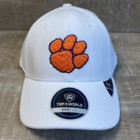 New Clemson Tigers Raised Paw Top Of The World TOTW One Fit Hat Cap White NCAA