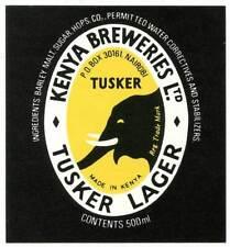 Kenya Beer Label - Tusker Lager - Kenya Breweries, Ltd. - with Elephant
