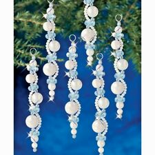 Holiday Beaded Ornament Kit PEARL ICICLES Christmas Ornaments Makes  6  NEW!