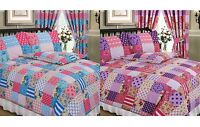 Patchwork Floral Polka Dot Spot Flowers Thatch Tartan Purple Pink Blue Duvet Set