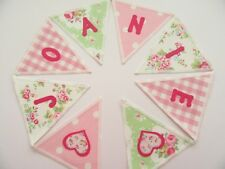 PERSONALISED BUNTING CATH KIDSTON FABRIC Floral + Pink Spot LAURA ASHLEY Gingham