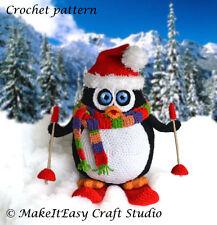 CROCHET PATTERN, Skiing Penguin, Crochet Penguin, Christmas Decoration, PDF file