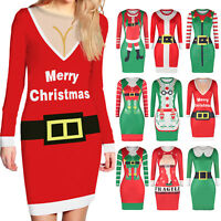 UGLY XMAS CHRISTMAS SWEATER Women Bodycon Slim Jumper Pullover Long Top Dress US