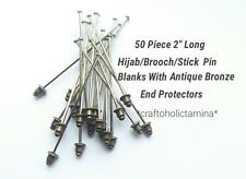 """50x 2"""" Vintage Style Hijab/Scarf/Brooch/Stock/Stick Pin Blanks/End Protectors"""