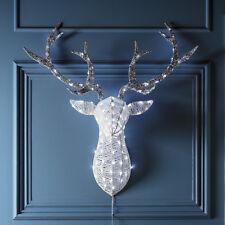 LED cabeza de ciervo reno blanco brillo Navidad Adviento Iluminación Exterior