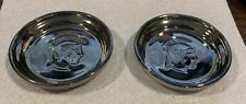 Set Of (2) Ceramic Silver Candy Trinket Dishes 3.75� X .75� With Roman Face