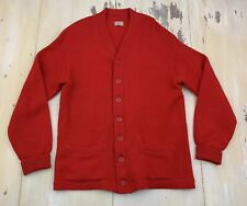 VINTAGE CARDIGAN: Mid Century Red Wool Grandpa Cobain Letter Sweater, Mens LARGE