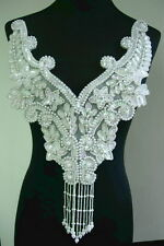 BD20 Fringed FLORAL BODICE Sequin Beaded Applique Motif White Iris for Dancewear