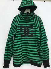 DC Snowboard Hooded Coat Jacket Mens Spectrum EXOTEX 10000 Green Black Striped