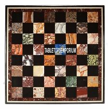 "18"" Marble Furniture Table Top Multi Mosaic Inlaid Pietra Gemstones Decor Arts"