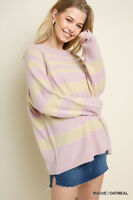 UMGEE Oversized Striped Ribbed Neck Pullover Sweater
