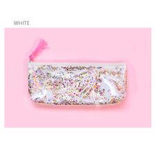 Women Girl Sequins Cosmetic Makeup Bag ZIPPER Pencil Case Travel Pouch Student White