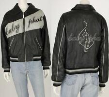 Baby Phat Black Leather Bomber Jacket M