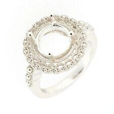 Art Deco Filigree Sterling Silver Semi Mount Ring Setting Round RD 9x9mm