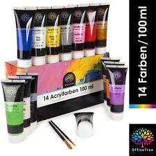 OfficeTree Acrylfarben Set 14 Tuben à 100 ml - Hochpigmentiert auf Wasserbasis