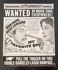 Pressbook Paramount Showmanship MY FAVORITE SPY Bob Hope Hedy Lamarr Movie 1951