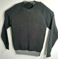 Sean John Men Sweater Size XL Black/Grey Pull Over Long Sleeve Grey Trim