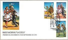 "Chile 1993 FDC National Dance ""La Cueca"" North, Center and South"