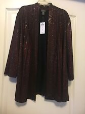 Travelers Collections Sz 16 Burgundy Metallic Long Sleeved Glitzy Dressy Jacket!