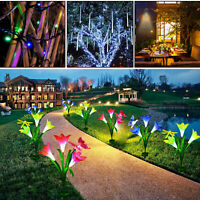 Solar Power Lily Flowers Meteor Shower String Lights Wall Lamps Outdoor Garden