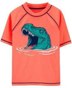 Carter's Little & Big Boys Dinosaur Swim Rash Guard Neon Orange Size 4 NWT