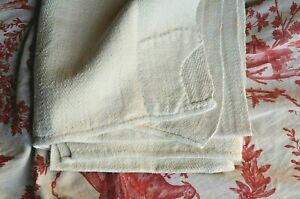 Antique French hand loomed pure linen 19th century towel, beautifully patched