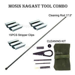 """Mosin Nagant 17.5"""" Cleaning Rod + Cleaning Kit + 15PCS Stripper Clips"""