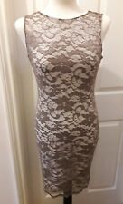 Jane Norman Size 12 Mocha Lace Dress Wiggle Bodycon Keyhole Back Party Races New