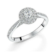 Fine 18K White Gold Band 7 8 Christmas Sale Real 1.20 Ct Diamond Engagement Ring