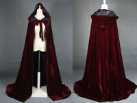 Gothic Hooded Velvet Cloak Gothic Wicca Robe Medieval Witchcraft Larp Cape AA+++