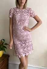 Reiss Occasion Orchid dress Fitted Uk 6 Pencil Shift Lace Pink