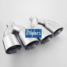 """Pair exhaust tips quad single 2.5"""" Inlet / dual 3.5"""" outlet 304 stainless steel"""