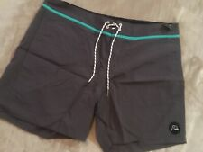 Quiksilver Swim Trunks  38 X 17 Classic Gray Turquoise Beach Boardshorts Surf Nw