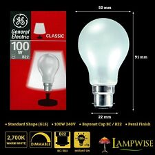 10x GE 100w 240v Bayonet Bc/b22 Mini GLS Dimmable Incandescent Pearl Light Bulbs
