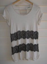 Jeanswest Women's Off-White & Black Lace Short-Sleeve Top - Size S