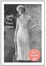 Années 1930 deux pièces robe Knitting Pattern-copie